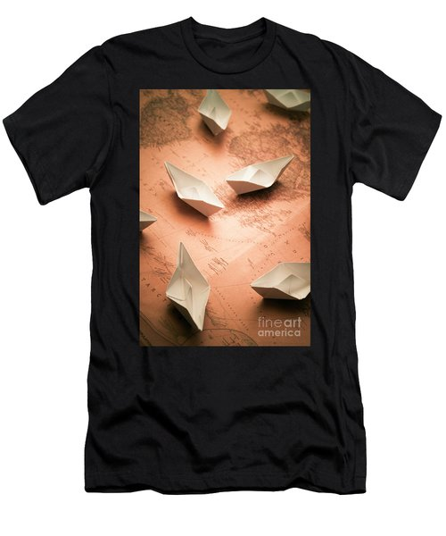 Small Paper Boats On Top Of Old Map Men's T-Shirt (Athletic Fit)