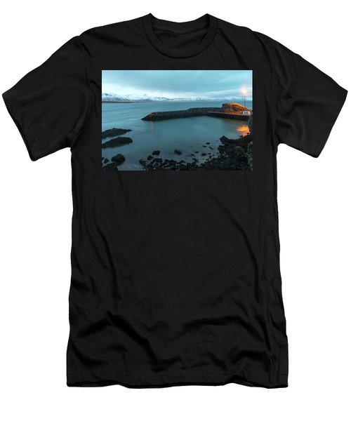 Men's T-Shirt (Athletic Fit) featuring the photograph Small Port Near Snaefellsjokull Mountain, Iceland by Dubi Roman
