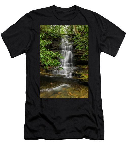 Small Waterfalls In The Forest. Men's T-Shirt (Slim Fit) by Ulrich Burkhalter