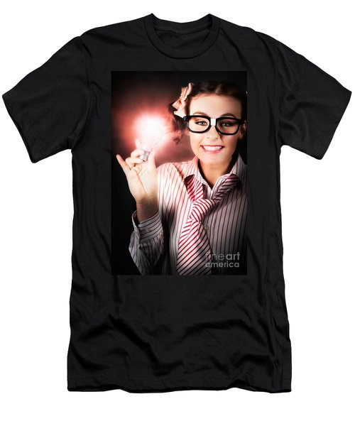 Smart Business Person Holding Light Bulb In Hand Men's T-Shirt (Athletic Fit)
