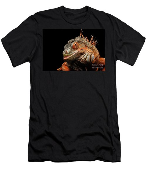 Men's T-Shirt (Athletic Fit) featuring the photograph smiling Orange iguana isolated on black  by Sergey Taran