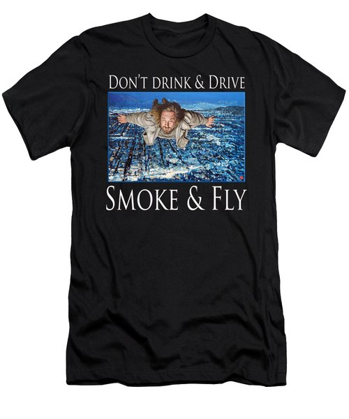 Men's T-Shirt (Athletic Fit) featuring the painting Smoke And Fly by Tom Roderick
