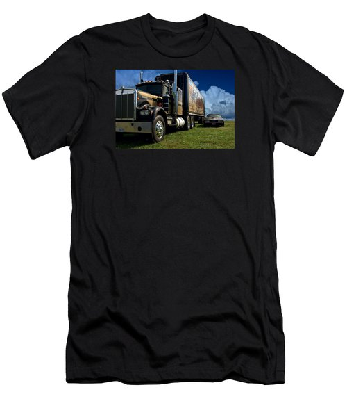 Smokey And The Bandit Tribute 1973 Kenworth W900 Black And Gold Semi Truck And The Bandit Transam Men's T-Shirt (Slim Fit) by Tim McCullough