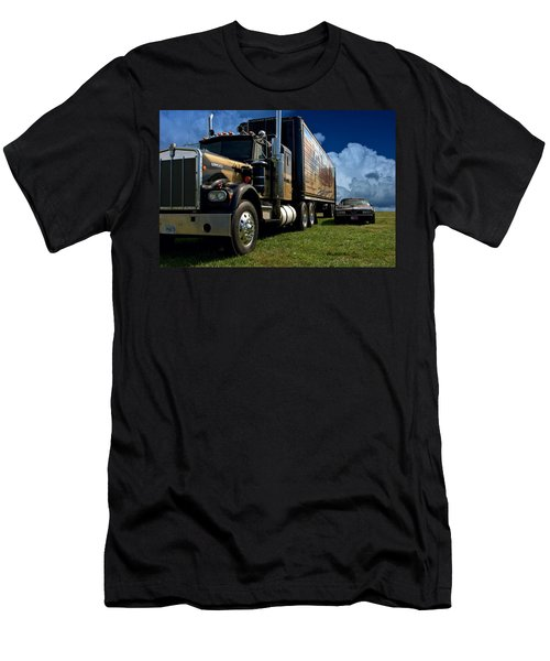 Smokey And The Bandit Tribute 1973 Kenworth W900 Black And Gold Semi Truck And The Bandit Transam Men's T-Shirt (Athletic Fit)