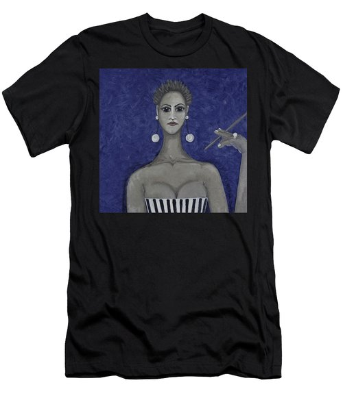 Smoking Woman 3 - Blue Men's T-Shirt (Athletic Fit)