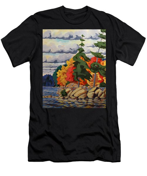 Snake Island In Fall-close Men's T-Shirt (Slim Fit) by David Gilmore