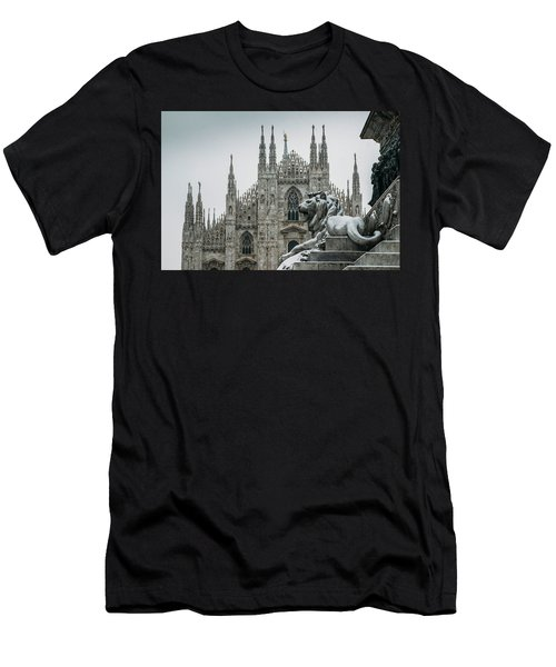 Snow At Milan's Duomo Cathedral  Men's T-Shirt (Athletic Fit)