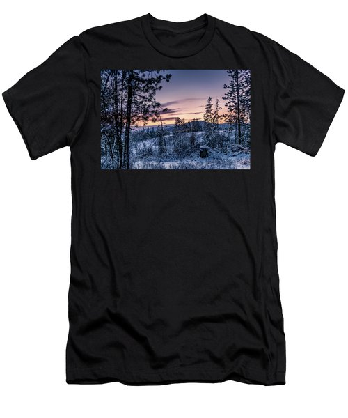 Snow Coved Trees And Sunset Men's T-Shirt (Athletic Fit)