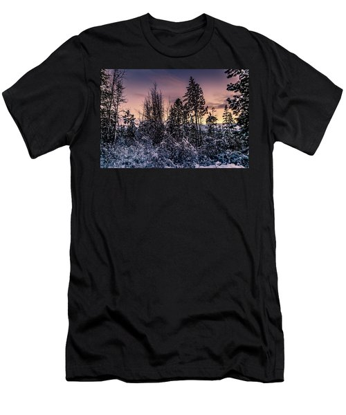 Snow Covered Pine Trees Men's T-Shirt (Athletic Fit)