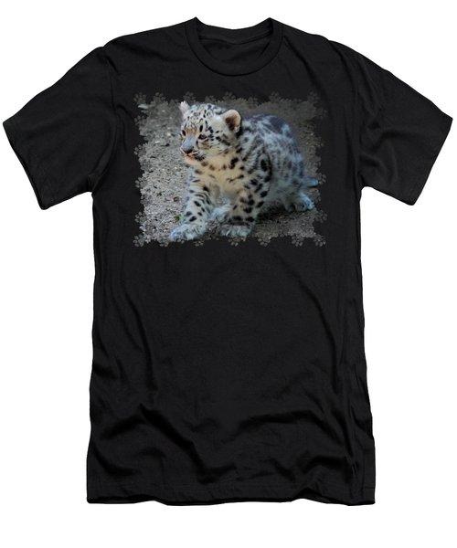 Snow Leopard Cub Paws Border Men's T-Shirt (Athletic Fit)