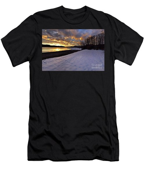 Snow On Beach Men's T-Shirt (Athletic Fit)