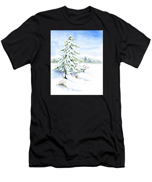 Snow On Evergreens Men's T-Shirt (Athletic Fit)