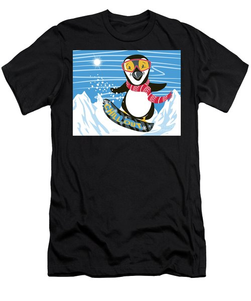 Snowboarding Penguin Men's T-Shirt (Athletic Fit)