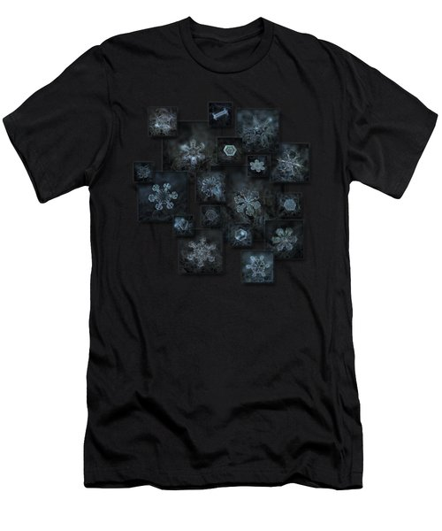 Men's T-Shirt (Slim Fit) featuring the photograph Snowflake Collage - Dark Crystals 2012-2014 by Alexey Kljatov
