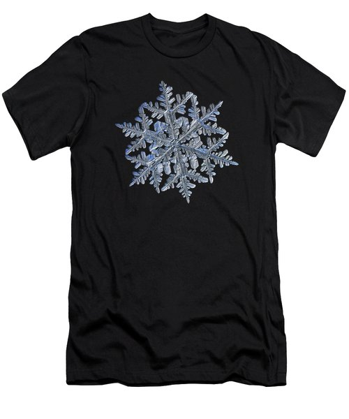 Men's T-Shirt (Athletic Fit) featuring the photograph Snowflake Macro Photo - 13 February 2017 - 3 Black by Alexey Kljatov