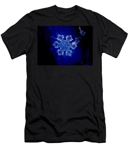 Snowflake On Blue Men's T-Shirt (Athletic Fit)