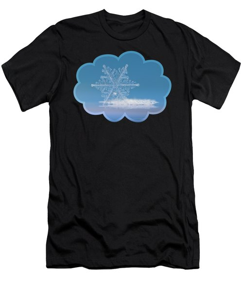 Men's T-Shirt (Athletic Fit) featuring the photograph Snowflake Photo - Cloud Number Nine by Alexey Kljatov