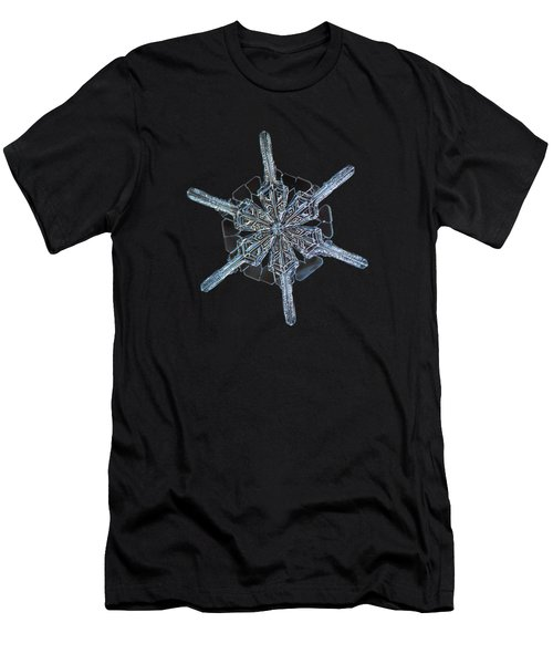 Men's T-Shirt (Athletic Fit) featuring the photograph Snowflake Photo - Steering Wheel by Alexey Kljatov