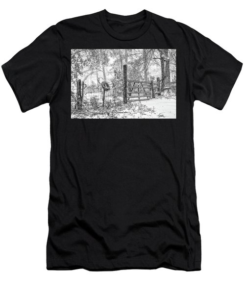 Snowy Cattle Gate Men's T-Shirt (Athletic Fit)