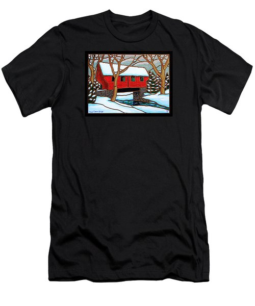 Snowy Covered Bridge Men's T-Shirt (Slim Fit) by Jim Harris