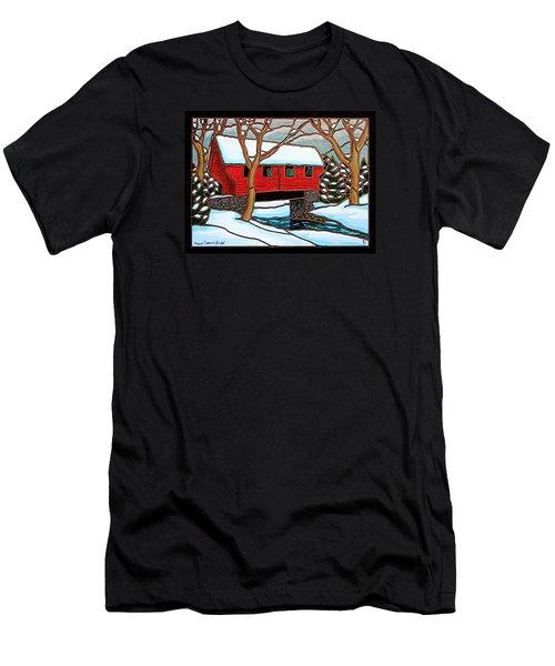 Snowy Covered Bridge Men's T-Shirt (Slim Fit)