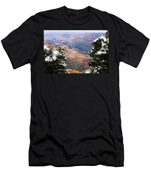 Snowy Dropoff - Grand Canyon Men's T-Shirt (Slim Fit) by Larry Ricker