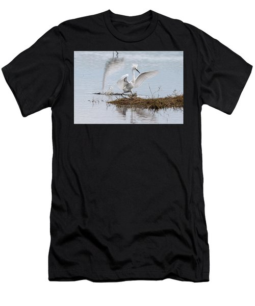 Men's T-Shirt (Athletic Fit) featuring the photograph Snowy Egret Chasing His Dinner by Dan Friend