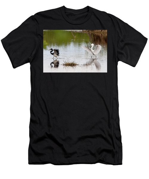 Men's T-Shirt (Athletic Fit) featuring the photograph Snowy Egret Chasing Other Bird Out Of Feeding Area by Dan Friend