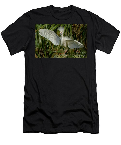 Snowy Egret In The Trees Men's T-Shirt (Slim Fit) by Myrna Bradshaw
