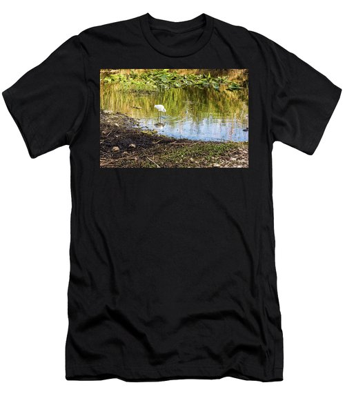 Snowy Egret Reflections Men's T-Shirt (Athletic Fit)