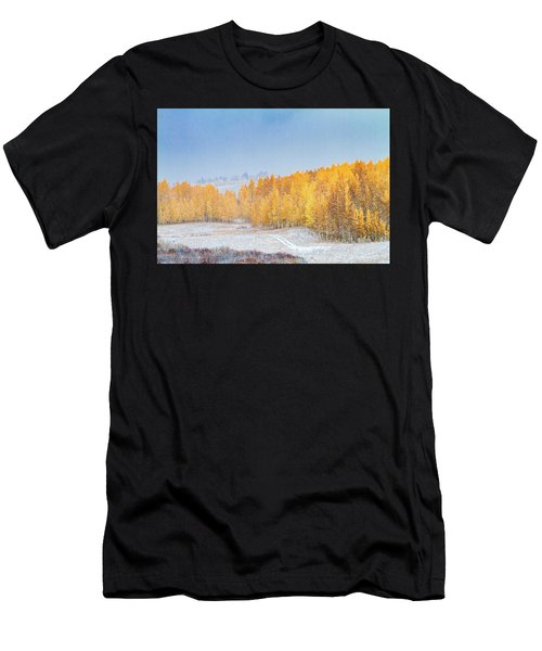 Snowy Fall Morning In Colorado Mountains Men's T-Shirt (Athletic Fit)