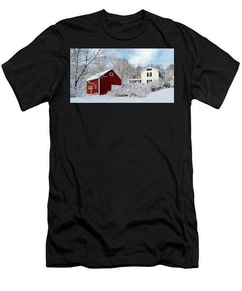 Snowy Homestead With Red Barn Men's T-Shirt (Athletic Fit)