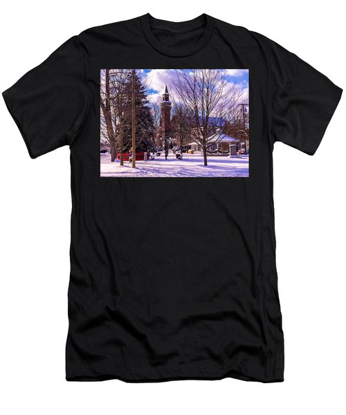 Snowy Old Town Hall Men's T-Shirt (Athletic Fit)