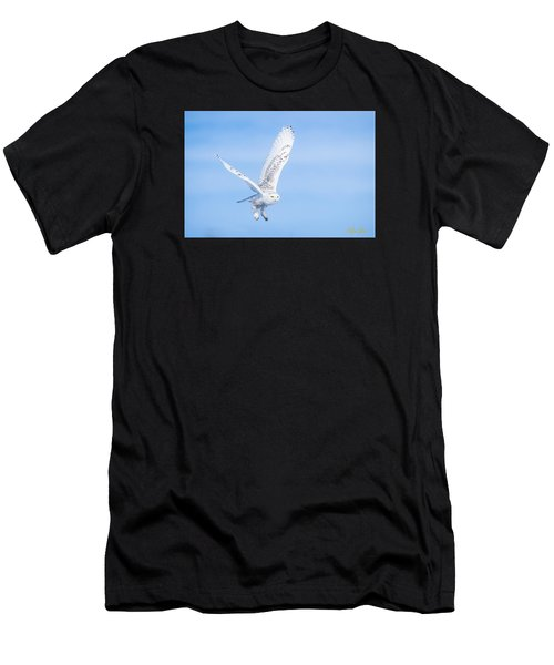 Men's T-Shirt (Athletic Fit) featuring the photograph Snowy Owls Soaring by Rikk Flohr