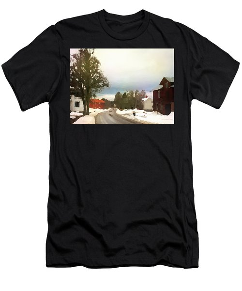 Men's T-Shirt (Athletic Fit) featuring the digital art Snowy Street With Red House by Shelli Fitzpatrick
