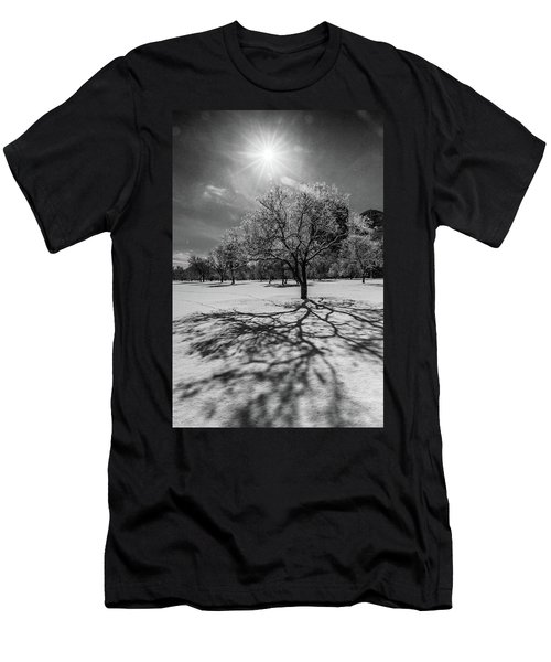 Snowy Sunburst Tree Men's T-Shirt (Athletic Fit)