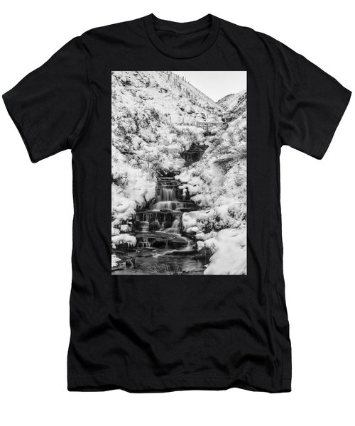 Snowy Waterfall In The Peak District In Derbyshire Men's T-Shirt (Athletic Fit)
