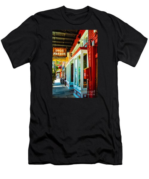 Snug Harbor Jazz Bistro- Nola Men's T-Shirt (Slim Fit) by Kathleen K Parker