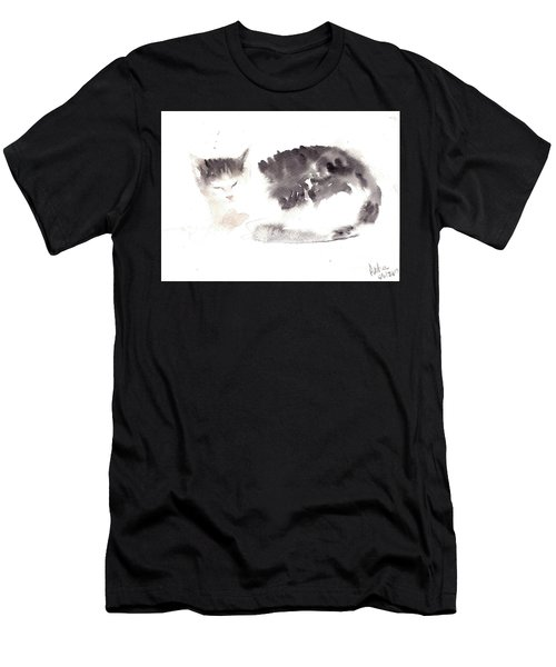 Snuggling Cat Men's T-Shirt (Athletic Fit)