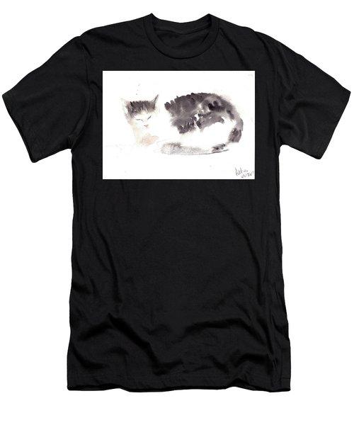 Snuggling Cat Men's T-Shirt (Athletic Fit)