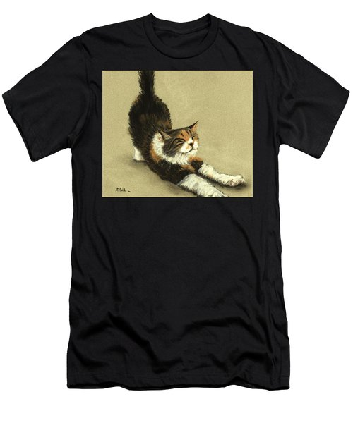 Men's T-Shirt (Athletic Fit) featuring the painting Soft Kitty by Anastasiya Malakhova