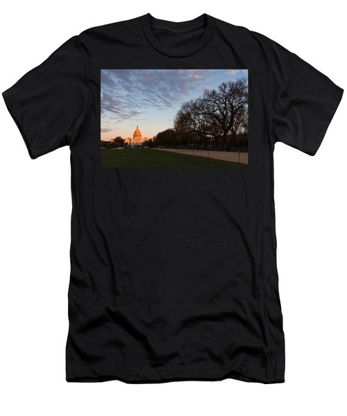 Soft Orange Glow - U S Capitol And The National Mall At Sunset Men's T-Shirt (Athletic Fit)