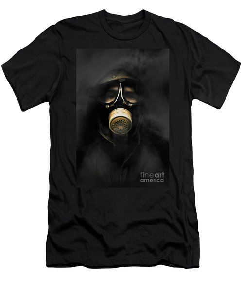 Soldier In Gas Mask Men's T-Shirt (Athletic Fit)