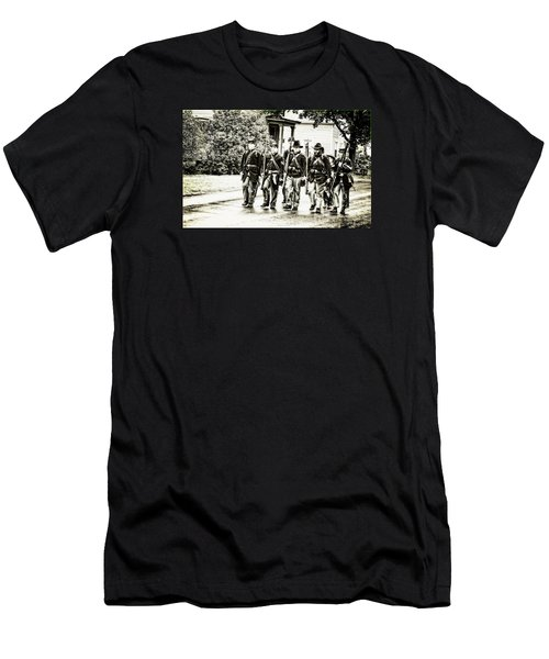 Soldiers Marching In Parade Men's T-Shirt (Slim Fit) by Rena Trepanier