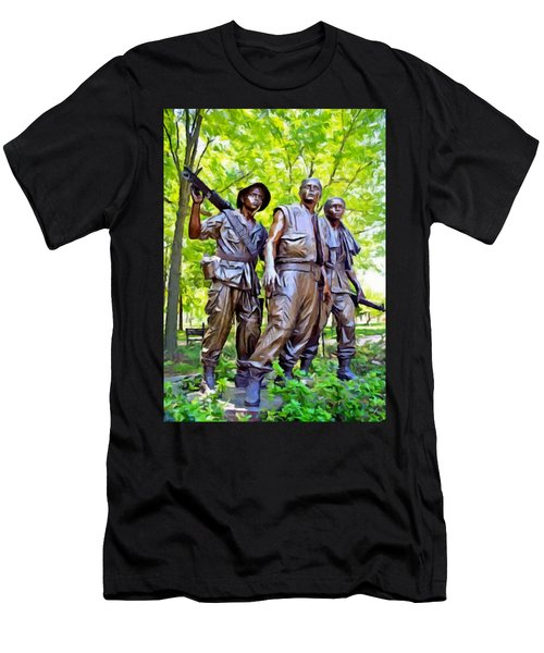 Soldiers Statue At The Vietnam Wall Men's T-Shirt (Athletic Fit)