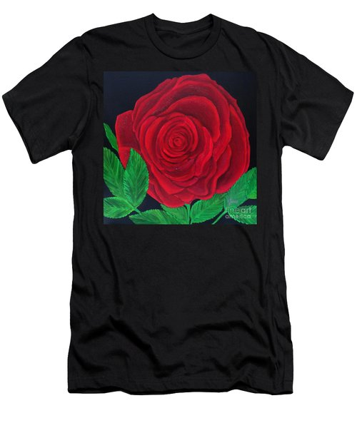 Solitary Red Rose Men's T-Shirt (Athletic Fit)
