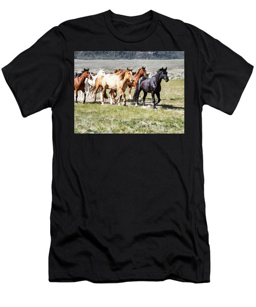 Men's T-Shirt (Athletic Fit) featuring the digital art Sombrero Ranch Horse Drive, Galloping Horses by Nadja Rider