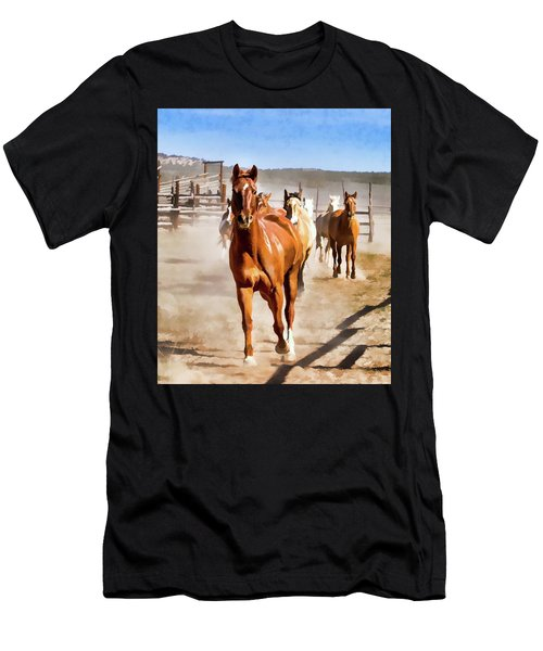 Men's T-Shirt (Athletic Fit) featuring the digital art Sombrero Ranch Horse Drive, Galloping Into The Dusty Corrals by Nadja Rider
