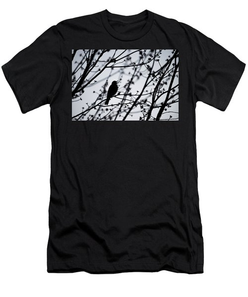 Men's T-Shirt (Slim Fit) featuring the photograph Song Bird Silhouette by Terry DeLuco