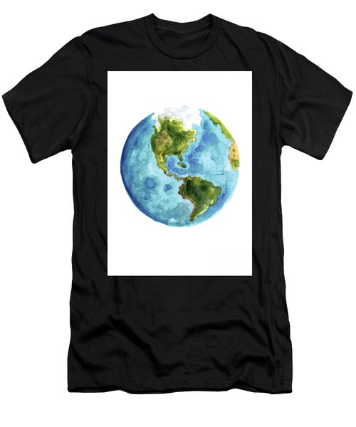Planet Earth, South America Illustration, Watercolor World Map Painting Men's T-Shirt (Athletic Fit)